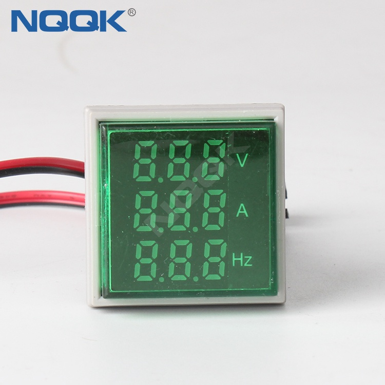 22mm Green Square LED Indicator Digital Voltmeter Ammeter Hz Frequency Multifunction Meter