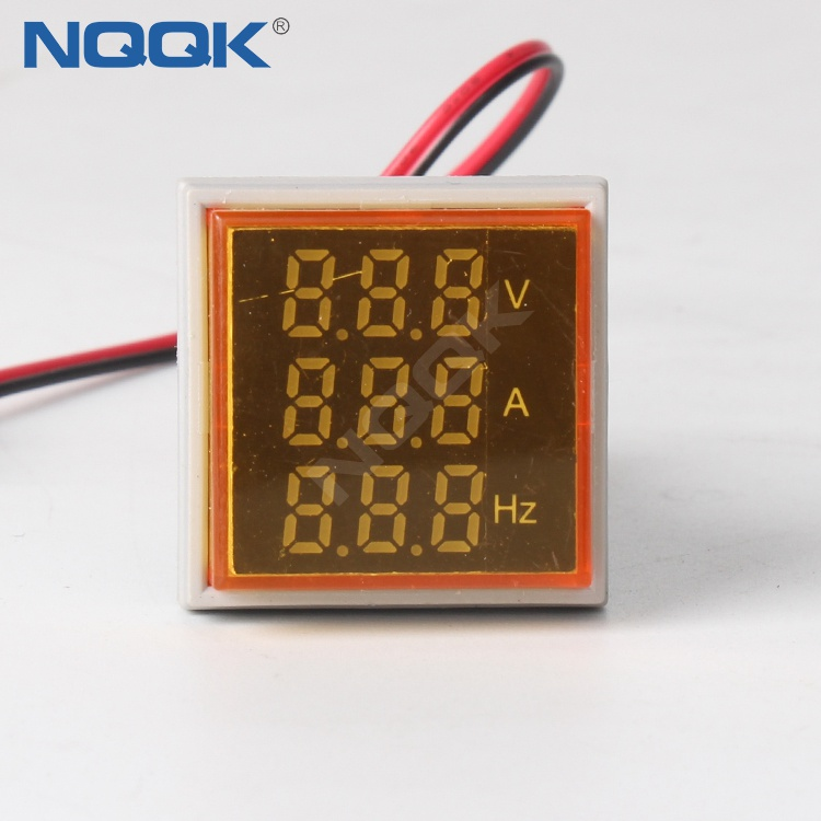 22mm Yellow Square LED Indicator Digital Voltmeter Ammeter Hz Frequency Multifunction Meter