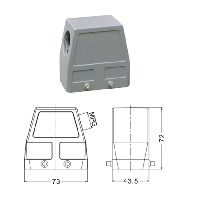 H10B Hood Housing industrial heavy duty rectangle connector