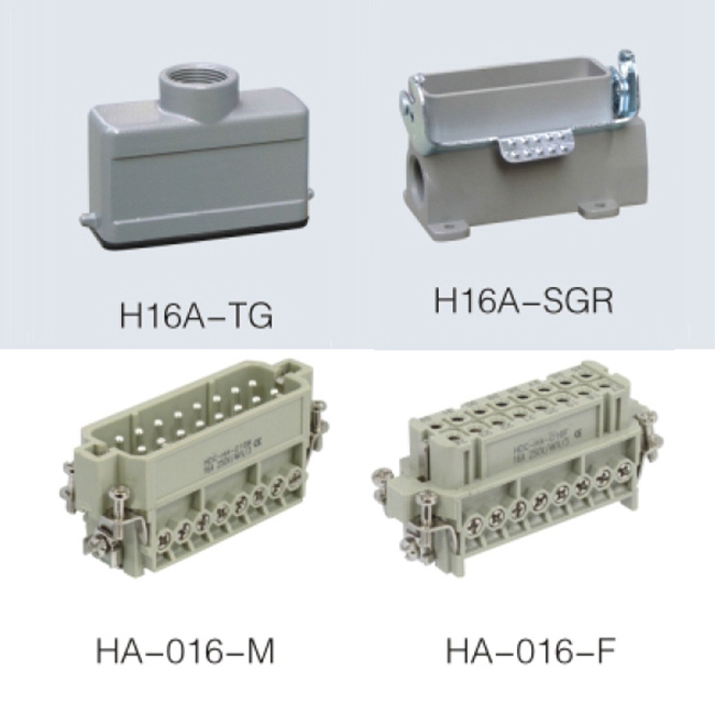 HA series 16 Poles of connector heavy duty power connector (with 1 levers)