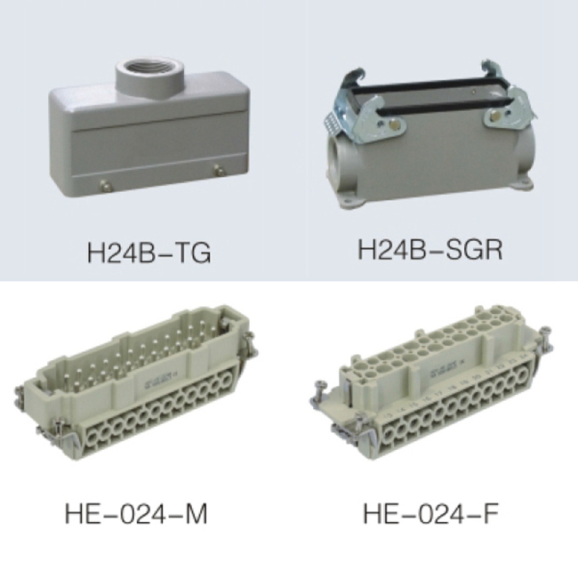 HE series 24 Poles of connector heavy duty power connector (With 2 levers)