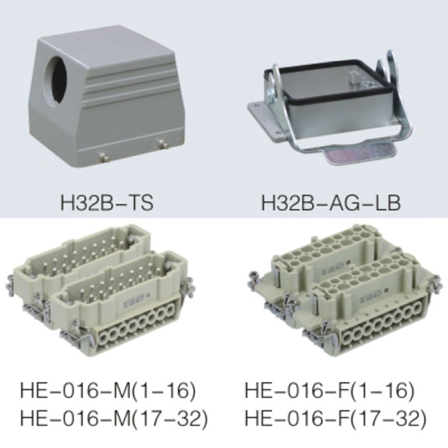 HE series 32 Poles of connector heavy duty power connector (With 1,2 levers)