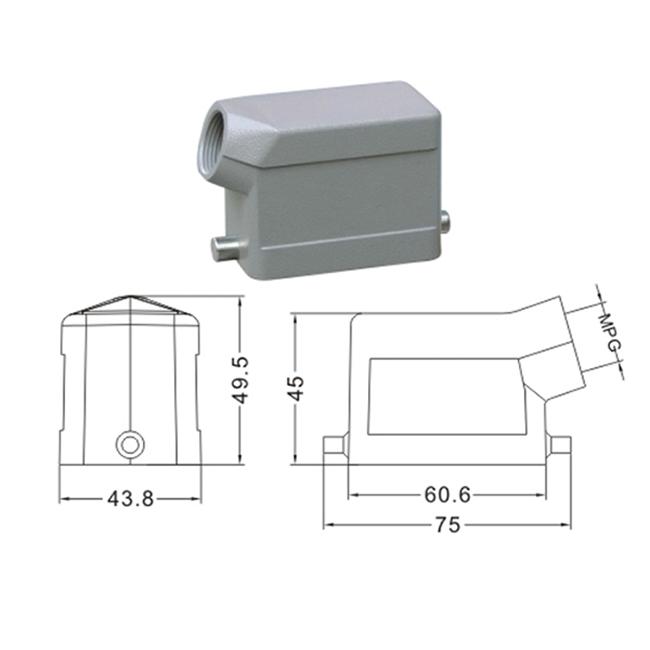 H6B Hood Housing industrial heavy duty rectangle connector