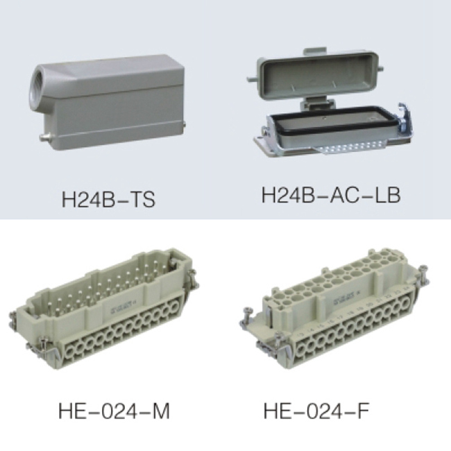 HE Series 24 Poles of Connector Heavy Duty Power Connector (With 1 Levers)