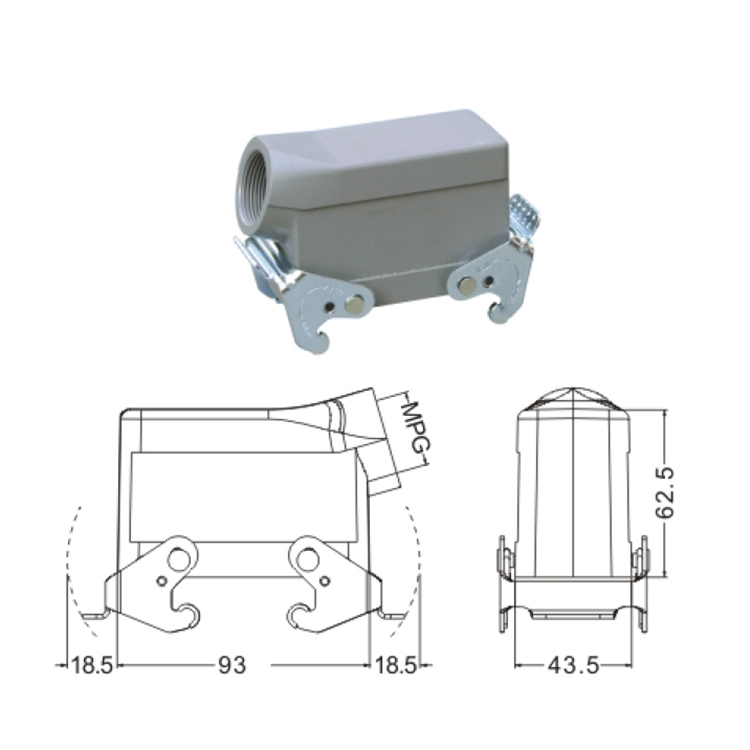 H16B 3 Hood Housing industrial heavy duty rectangle connector