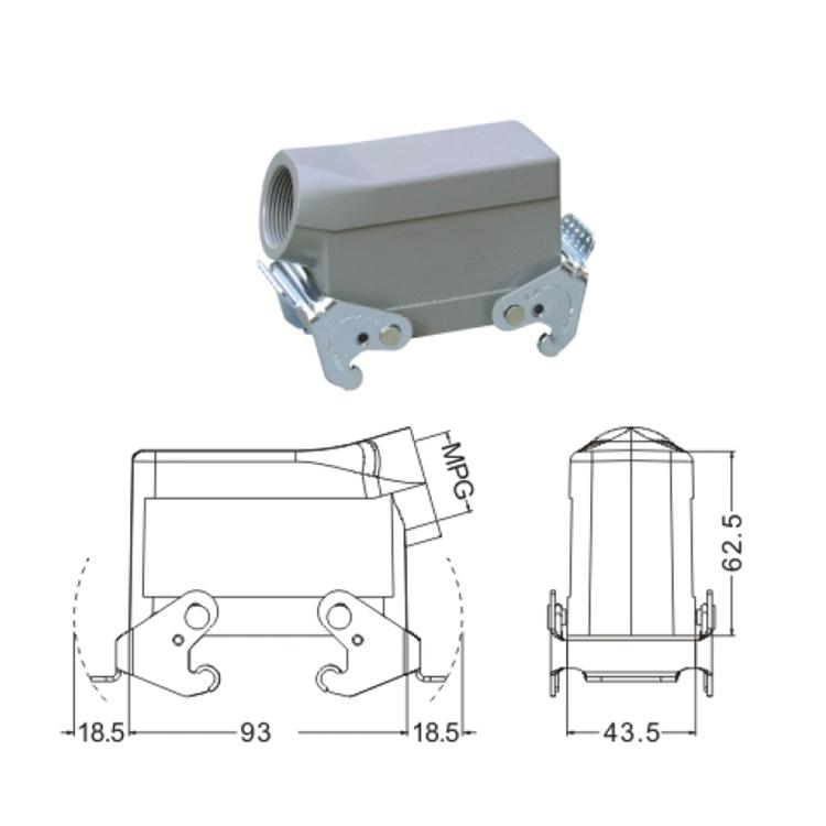 H16B 3 Hood Housing industrial heavy duty rectangle connector