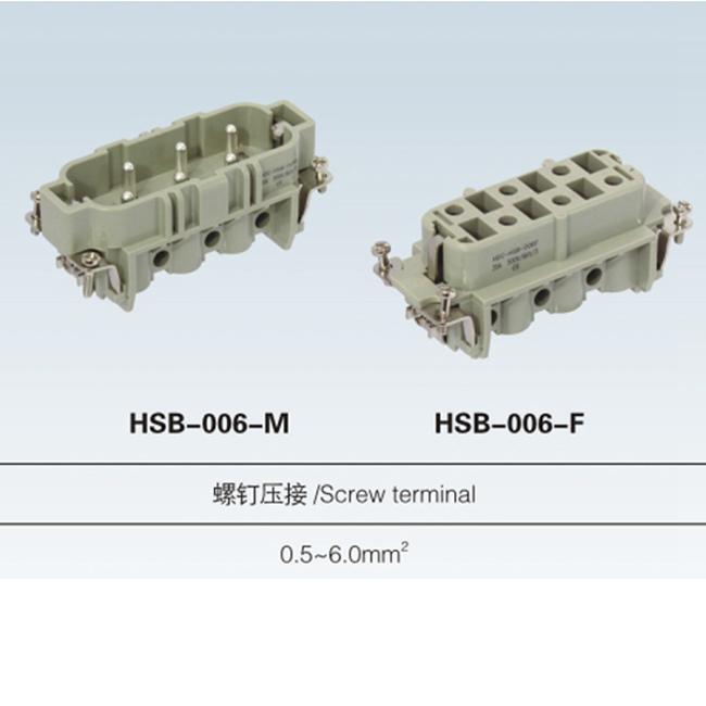 HSB 6, 12 pin male & female plug Insert heavy duty connector