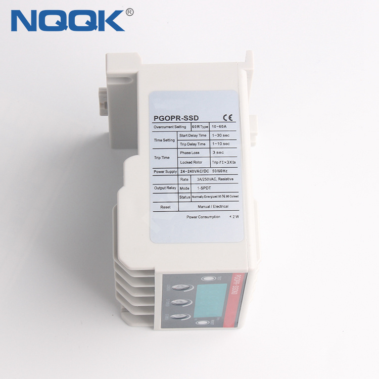 PGOPR-SSD 200Hz LED Digital electronic over current relay with din rail 35mm