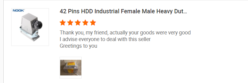 Excellent comments from customers on heavy-duty connectors