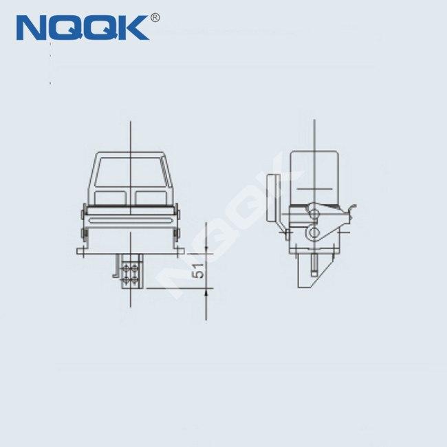 (HDC-HE-16/6-06D) 500V 16 pin 22pin Industrial rectangular waterproof heavy duty connector