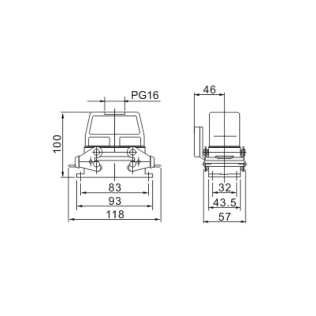 ACJ3 HDC-HE-16/10-02S 500V 16 10 pin industrial rectangular heavy duty connector