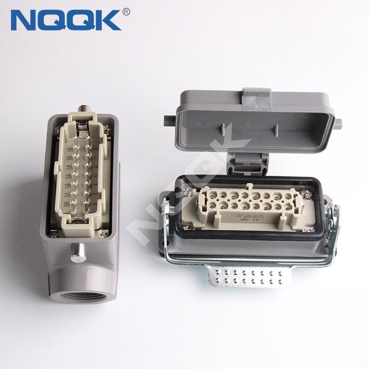 16 pole H16B-SGR-LB H16B-AD-LB 16 Pole Rectangular heavy duty sockets connector with 1 levers