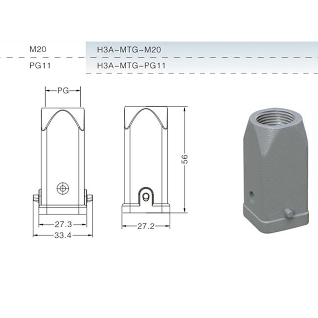 H3A-MTG 3pin 4pin metal aluminum waterproof hood shell case of heavy duty connector